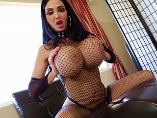 Amy Anderssen's Huge Fake Tits Jiggle As She Gets Fucked By A Black Guy